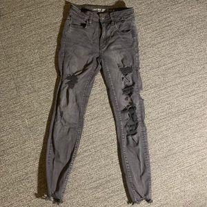 American Eagle Super Stretch black ripped jeans